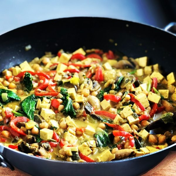 Vegan Chickpea-Coconut Curry with Tofu and Spinach