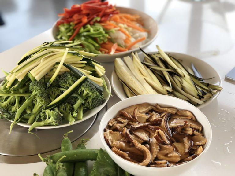 Vegetables, cut in slices for garlicky veggie wok recipe