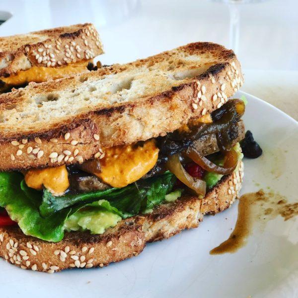 Smokey Tofu Sandwich with caramelized onions