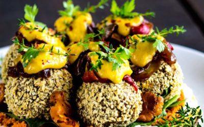 Crispy Vegan Falafels with Tempeh & Walnuts (oil-free, gf)