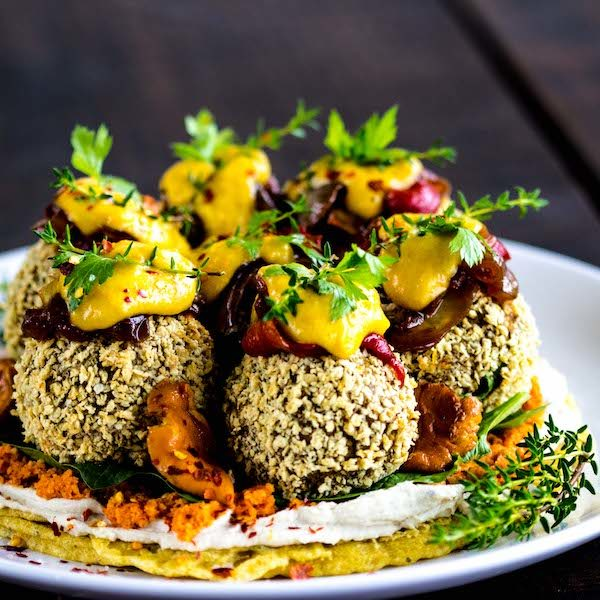 Vegan Falafels on a chickpea pancake