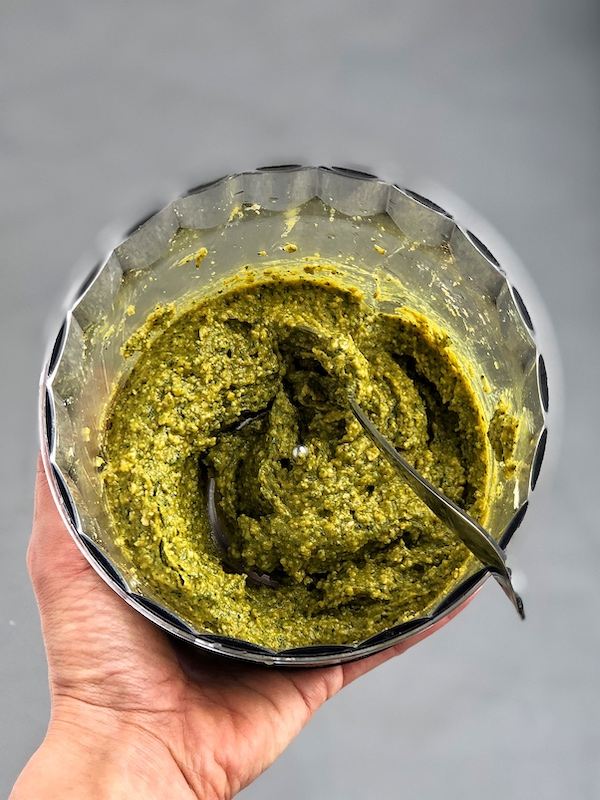 Vegan Cashew Pesto with Turmeric in food processor