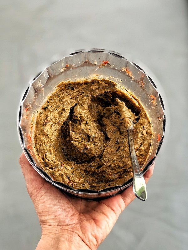 Vegan Sun Dried Tomato Pesto with Walnuts in food processor