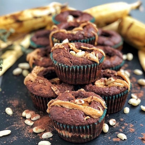 Peanut Butter filled Chocolate Banana Muffins (vegan)